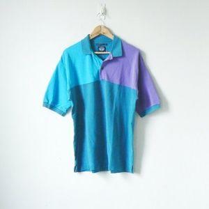 Other - Vintage 90s Blue & Purple Colorblock Polo Shirt